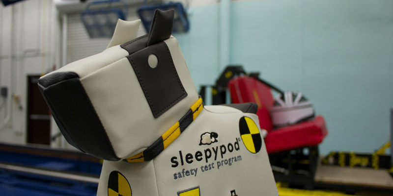 Sleepypod Safety Test Program featuring MAX the crash test dummy